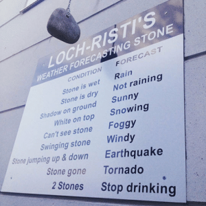 srsfunny:Trust Me, It Works: LOCH-RISTI'S  WEATHER FORECASTING STONE  CONDITION FORECAST  coNe werNo  Rain  Not raining  Sunny  Stone is wet  Stone is dry  Shadow on ground  White on top  Snowing  Can't see stone  Swinging stone  Stonejumping up & down  Foggy  Windy  Earthquake  Stone gone Tornado  2 Stones  Stop drinking srsfunny:Trust Me, It Works