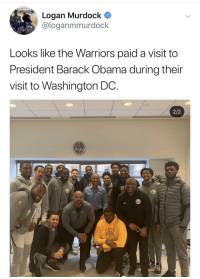 Obama, Barack Obama, and Warriors: Logan Murdock  @loganmmurdock  Looks like the Warriors paid a visit to  President Barack Obama during their  visit to Washington DC.  2/2 And not a hamberder was in sight