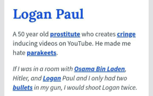 Osama Bin Laden, Videos, and youtube.com: Logan Paul  A 50 year old prostitute who creates cringe  inducing videos on YouTube. He made me  hate parakeets.  If I was in a room with Osama Bin Laden,  Hitler, and Logan Paul and I only had two  bullets in my gun, I would shoot Logan twice. I totally agree