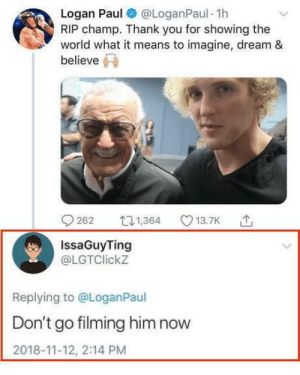 Memes, Thank You, and World: Logan Paul @LoganPaul 1h  RIP champ. Thank you for showing the  world what it means to imagine, dream &  IssaGuyTing  @LGTClickz  Replying to @LoganPaul  Don't go filming him now  2018-11-12, 2:14 PM Oh no Logan Paul !! via /r/memes https://ift.tt/2Q1TfzH