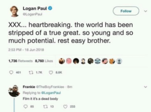 True, Xxx, and World: Logan Paul  OLoganPaul  Follow  XXX... heartbreaking. the world has been  stripped of a true great. so young and so  much potential. rest easy brother.  2:53 PM-18 Jun 2018  1,736 Retweets 8,760 Likes  幽。  Frankie TheBoyFrankiee  Replying to @LoganPaul  Film it it's a dead body  8m
