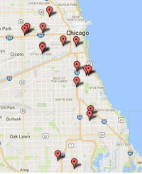 A map of Chicago shootings this past weekend. 19 shot.. 3 Dead. Nobody gives a crap because it doesn't further anybody is political agenda: LOGAN SQIARE LINCOLN PARK  64  NEAR  NORTH SIDE  50  Park  Chicago  290  290  yn  Cicero UTTLE VILAGE  90  BACK OF  THE YARDs  50  HYDE PARK  SouTH SIDE  1页  ord Park  SOUTH SHORE  50  Burbank  20  Oak Lawn  EAST SIDE  90  Wh  Alsip A map of Chicago shootings this past weekend. 19 shot.. 3 Dead. Nobody gives a crap because it doesn't further anybody is political agenda
