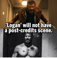 Google, Memes, and Wolverine: Logan' will not have  a post-credits scene. Seems fitting for the end of Hugh's long, bad*ss career as Wolverine. - CONFIRMED BY JAMES MANGOLD. - IF ANYONE CHOOSES TO NOT BELIEVE THIS, FEEL FREE TO GOOGLE IT. THE POST-CREDIT SCENE WAS JUST A RUMOR. JAMES MANGOLD SAID THAT RUMOR WAS FALSE.