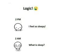 sleepys: Logic!  2 PM  I feel so sleepy!  2 AM  What is sleep?