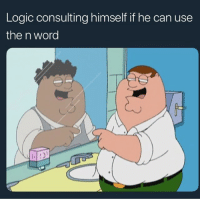 Logic, Word, and Trendy: Logic consulting himself if he can use  the n word How y'all predicting that album to do 🤔?? 🔥🔥🔥 or 👎👎👎 follow bro @413memes