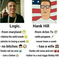 A Weeb: Logic.  Hank Hill  -from maryland  from Arlen Tx 100  -claims he sold crack  sells propane  admits to being a weeb  never been a weeb  has a wife  20  no bitches  fucks wit no one ist  fucks wit sosa and em  A  isnt a father  0 father to a real nigga Bobby Hill