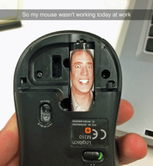 tastefullyoffensive:  (photo via mranthony101): Logitech  CEM310  FCC ID: JNZMRO050  IC: 4418A-MRO050  STOISIAN  So my mouse wasn't working today at work tastefullyoffensive:  (photo via mranthony101)