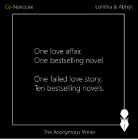 Memes, 🤖, and Love Story: Lohitha & Abhijit  Co-Nanotale  One love affair  One bestselling novel  One failed love story,  Ten bestselling novels.  The Anonymous Writer Co-Nanotale | Lohitha & Abhijit