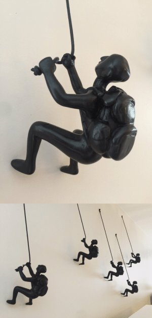Climbing, Lol, and Tumblr: lol-coaster:    5 Piece Climbing Sculpture Wall Art      1 DAY OR SAME DAY SHIPPING ON ALL ORDERS ON WEEK DAYS!!This listing is for 1 set of 5 pcs of Climbing man with backpack wall art home decor in CHOCO DARK colour.