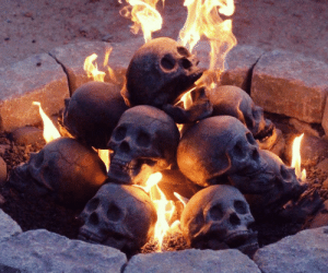 lol-coaster:   Human Skull Fireplace LogsRest assured, when you start to burn the skull in the fire, any chips or spots will turn black with use. All skulls, no matter the paint job, will look the same in the end; the product is a fire-proof skull, any paint is just to make it look better while in its raw state. Soot accumulation is natural, inevitable and pure black. The photos of the skulls taken in advertisements have had some use to fill in every crack with soot. Please burn your skull sufficiently and we are confident that you will be very satisfied with its finished appearance.: lol-coaster:   Human Skull Fireplace LogsRest assured, when you start to burn the skull in the fire, any chips or spots will turn black with use. All skulls, no matter the paint job, will look the same in the end; the product is a fire-proof skull, any paint is just to make it look better while in its raw state. Soot accumulation is natural, inevitable and pure black. The photos of the skulls taken in advertisements have had some use to fill in every crack with soot. Please burn your skull sufficiently and we are confident that you will be very satisfied with its finished appearance.