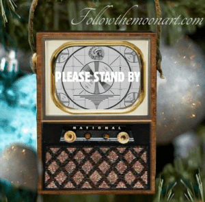 Christmas, eBay, and Lol: lol-coaster:   Please Stand By Show Wood Vintage Look Television Set  Travel back in time and visit your favorite old time television show. Hand made of wood and makes a great nostalgia gift!