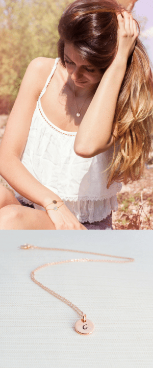 Beautiful, Lol, and Tumblr: lol-coaster:    Rose Gold Initial Necklace     A beautiful rose gold plated necklace, with a small thick rose gold plated disc. A lovely fine and delicate necklace, would make a great gift.