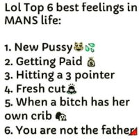 3 Pointer: Lol Top 6 best feelings in  MANS life:  1. New Pussy  2. Getting Paid  3. Hitting a 3 pointer  4. Fresh cutj  5. When a bitch has her  own crib  6. You are not the father/