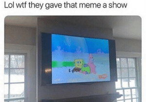Lol, Meme, and SpongeBob: Lol wtf they gave that meme a show Spongebob is now a show guys!