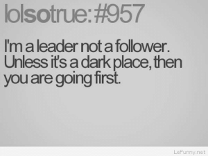 Funny leader saying: lolsotrue: #957  Im a leader not a follower  Unless its a dark place, then  you are going first  LeFunny.net Funny leader saying