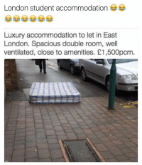 Funny, London, and Student: London student accommodation  Luxury accommodation to let in East  London. Spacious double room, well  ventilated, close to amenities. E1,500pcm 😂😂😂😂