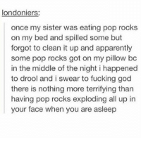 I would have died: londoniers:  once my sister was eating pop rocks  on my bed and spilled some but  forgot to clean it up and apparently  some pop rocks got on my pillow bc  in the middle of the night i happened  to drool and i swear to fucking god  there is nothing more terrifying than  having pop rocks exploding all up in  your face when you are asleep I would have died