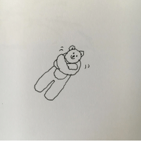 Memes, Bear, and 🤖: Lonely teddy bear hugging itself