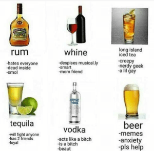 Beer, Bitch, and Creepy: long island  iced tea  -creepy  -nerdy geek  -a lil gay  rum  whine  -hates everyone  -dead inside  smol  despises musical.ly  -smart  mom friend  SOLUT  tequila  beer  memes  -anxiet  -pls help  vodka  will fight anyone  -has 2 friends  -loyal  -acts like a bitch  -is a bitch  beaut thefreshdiaries: Tag urself im Vodka