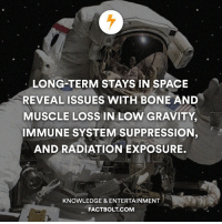 Bones, Memes, and Gravity: LONG-TERM STAYS IN SPACE  REVEAL ISSUES WITH BONE AND  MUSCLE LOSS IN LOW GRAVITY,  IMMUNE SYSTEM SUPPRESSION  AND RADIATION EXPOSURE.  KNOWLEDGE & ENTERTAINMENT  FACTBOLT COM