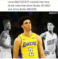 All Star, Jimmy Butler, and Memes: Lonzo Ball (120,817) currently has more  all star votes than Devin Booker (91,562)  and Jimmy Butler (88,009)  NBAHOTSHOTS  uish  IAKERS  2 What do you think? 👀😳 - Follow @_nbamemes._