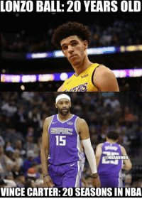 Nba, Old, and Been: LONZO BALL: 20 YEARS OLD  15  @NBAMEMES  VINCE CARTER: 20 SEASONS IN NBA When you realize Vince Carter has been in the NBA for as long as Lonzo Ball's age.