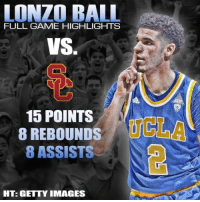 Lonzo Ball full highlights from Saturday's game vs USC. Potential 1 draft pick‼View profiles, stats, and more at link in bio... NBA UCLA NBAdraft NCAA UCLAbruins highlights MakePlayz: LONZO BALL  FULL GAME HIGHLIGHTS  VS.  15 POINTS  UCLA  8 REBOUNDS  8 ASSISTS  HT: GETTY IMAGES Lonzo Ball full highlights from Saturday's game vs USC. Potential 1 draft pick‼View profiles, stats, and more at link in bio... NBA UCLA NBAdraft NCAA UCLAbruins highlights MakePlayz