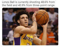Nba, Big, and Three: Lonzo Ball is currently shooting 48.6% from  the field and 40.9% from three-point range  ish  @NBAMEMES This guy is turning into a Big Baller. #LakeShow