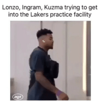 Changed the code real quick 😂 (Via ‪TheBallEra‬-Twitter): Lonzo, Ingram, Kuzma trying to get  into the Lakers practice facility Changed the code real quick 😂 (Via ‪TheBallEra‬-Twitter)