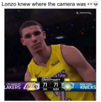 Why did he stare the camera down like that 💀😂😂🔥 - Follow @_nbamemes._: Lonzo knew where the camera was . .  @ nbamemes-  gh  SPECTAUM  SPORTSNET  LOS ANGELES  NEW YORK  KNICKS  3RD 4:04 Why did he stare the camera down like that 💀😂😂🔥 - Follow @_nbamemes._