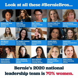 Is this some kind of wonderful or what? #WomanPower #Bernie2020: Look at all these #BernieBros  Briahna Joy Gray  National Press  Secretary  Belén Sisa  National Deputy  Press Secretary  Nina Turner  National Campaign  Co-Chair  Carmen Yulín Cruz  National Campaign  Co-Chair  Carli Stevenson  Deputy Communications  Director  Jess Mazour  Iowa Political  Director  Dr. Heather Gautney  National Deputy  Director of Policy  Arianna Jones  Communications  Director  Analilia Mejia  National Political  Director  Sarah Ford  Deputy Communications  Director  Sarah Badawi  National Deputy  Political Director  Claire Sandberg  National Organizing  Director  René Spellman  National Deputy  Campaign Direotor  Georgia Parke  Senior Social Media  Strategist  Robin Curran  Digital Fundraising  Director  Bernie's 2020 national  leadership team is 70% women. Is this some kind of wonderful or what? #WomanPower #Bernie2020