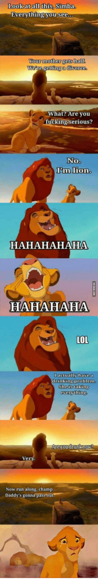 """9gag, Drinking, and Fucking: Look at all this, Simba.  Everything you see  Your mother gets half.  We  re getting a divorce  What? Are vou  fucking serious?  No.  I'm lion  HAHAHAHAHA  HAHAHAHA  LOL  I actually have a  drinking problem  She is taking  everything  Are you drunknow?  Very  Now run along, champ  Daddy's gonna pass out <p>The lying king / <a href=""""http://9gag.com/gag/ayd6KEM"""">via</a></p>"""