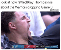 Klay Thompson isn't fazed.: look at how rattled Klay Thompson is  about the Warriors dropping Game 3  @NBAMEMES  2GS 976NO 119 4th1:39  6 NO 119 4th 139 24 ESFin GS LEADS 2-0 Klay Thompson isn't fazed.
