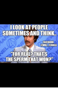 """Facebook, Memes, and Will Ferrell: LOOK AT PEOPLE  SOMETIMESAND THINK.  FACEBOOK  @WILL FERRELL  FOR REAL THATS  THE SPERM THAT WON?""""  irngflip.com"""