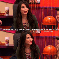 Christmas, iCarly, and Memes: Look at that boy. Look at him. I want that for Christmas.  BESTSCENESIG iCarly 🎄🎄🎄