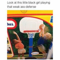 bruh: Look at this little black girl playing  that weak ass defense  kes. bruh