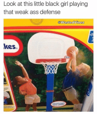 She playing defense like James Harden 💀😭😭 @rushed: Look at this little black girl playing  that weak ass defense  @WastedVinez  kes  ponier She playing defense like James Harden 💀😭😭 @rushed