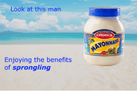 <p>you can be like him</p>: Look at this man  Mrs.BectotM  CREMICA  SINCE 1978  AYONNAISE  Enjoying the benefits  of sprongling <p>you can be like him</p>