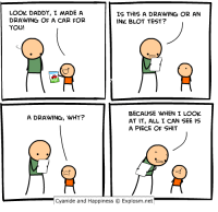 Shit, Cyanide and Happiness, and Http: LOOK DADDY, I MADE A  DRAWING OF A CAR FOR  YOU!  IS THIS A DRAWING OR AN  INK BLOT TEST?  BECAUSE WHEN I LOOK  AT IT, ALL I CAN SEE IS  A PIECE OF SHIT  A DRAWING, WHY?  Cyanide and Happiness C Explosm.net http://t.co/8NAmfimZz3