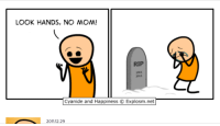 cyanide: LOOK HANDS, NO MOM!  RIP  1961  Cyanide and Happiness C Explosm.net  2011.12.29