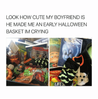 Crying, Cute, and Halloween: LOOK HOW CUTE MY BOYFRIEND IS  HE MADE ME AN EARLY HALLOWEEN  BASKET IM CRYING  LIFESA THATS A HUSBAND HUNNY