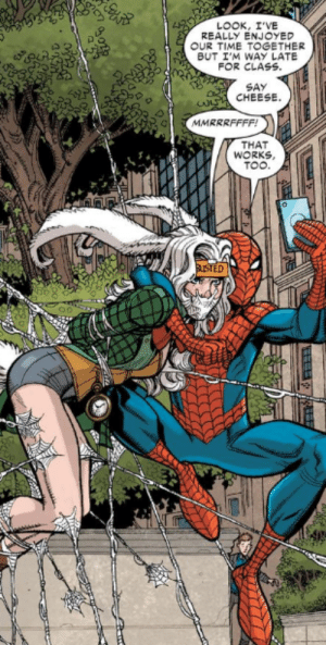 Didn't realize Spider-Man was so kinky: LOOK, I'VE  REALLY ENJOYED  OUR TIME TOGETHER  BUT I'M WAY LATE  FOR CLASS.  SAY  CHEESE.  MMRRRFFFF!  THAT  WORKS,  TOO.  auSTED Didn't realize Spider-Man was so kinky