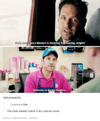 Marvel Tumblr: Look, man. got a Masters in Electrical Engineering, alright?  Welcome to Baskin-Robbins.  thehumanarkle:  I'm gonna be fine.  The most realistic scene in any Marvel movie.  Source: marvelmovies