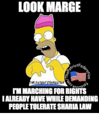 Bad, Memes, and 🤖: LOOK MARGE  S O  HR PATRIOT EeDe  onna  TIMMARCHINGFORRIGHTS  IALREADY HAVE WHILEDEMANDING  PEOPLETOLERATESHARIALAW It's pretty bad when you look stupid compared to HomerSimpson…