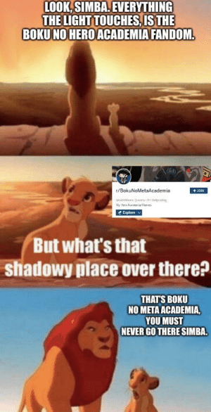 That shadowy place: LOOK, SIMBA. EVERYTHING  THE LIGHT TOUCHES, IS THE  BOKU NO HERO ACADEMIA FANDOM.  r/BokuNoMetaAcademia  + JOIN  KIAMeners Shitpesting  My Heru huecr ia Merres  * Explore  But what's that  shadowy place over there?  THATS BOKU  NO META ACADEMIA,  YOU MUST  NEVER GO THERE SIMBA. That shadowy place
