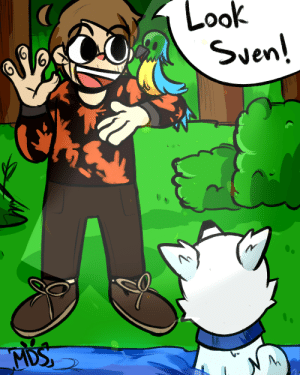 Dogs, Love, and Party: Look  Sven!  MDS  Y: A New Friend Has Joined The Party !!! ~ Worked really hard on this because I love birds (and dogs).