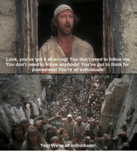 Love, Tumblr, and Blog: Look, you ve got it all wrong! You don't need to follow me.  You don't need to follow anybody! You've got to think for  ourselves! You're all individuals  Yes! We're-all individuals! srsfunny:  I Love Monty Python