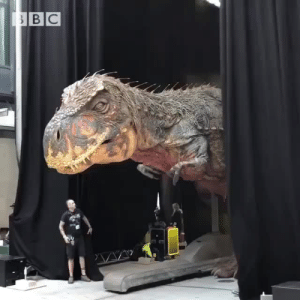Dinosaur, Target, and Tumblr: lookatallthestuffilike:  parks-and-rex:  steampunktendencies: Giant animatronic dinosaur outside bbc hq! Wow!Credits: BBC  No.   YES!
