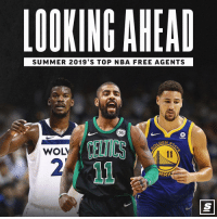 New York Knicks, Nba, and Summer: LOOKING AHEAD  SUMMER 2019'S TOP NBA FREE AGENTS  96  CELTICS  2  DEN S  WOL  RRI Kyrie to the Knicks? Link in Bio. Sponsored via @thescore