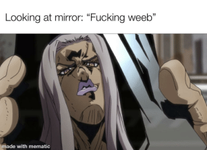 """Fucking, Mirror, and Looking: Looking at mirror: """"Fucking weeb""""  made with mematic Grimace"""